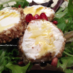 Pecan-Crusted Goat Cheese with Mixed Greens